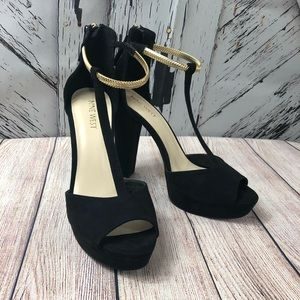 Nine West | Black suede heels gold ankle strap